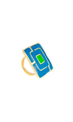 Blue Square Maze Ring.