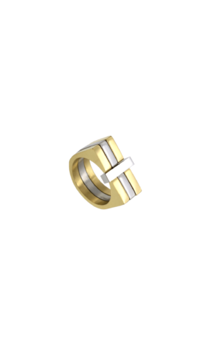 Gold Silver Three Tier Ring