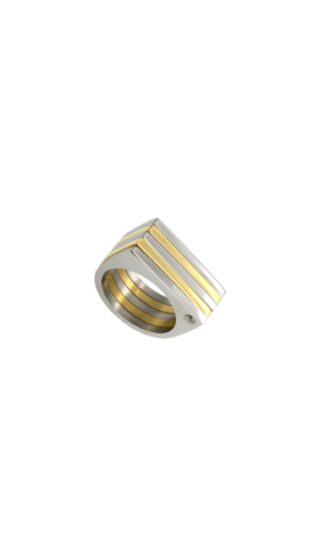 Gold Silver Geo Ring