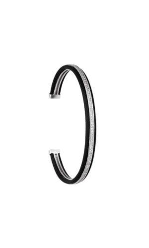 Silver Black Stackable Bracelet