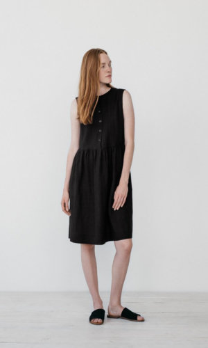 Helena Black Shirt Dress