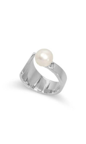 Floating Pearl Silver Ring