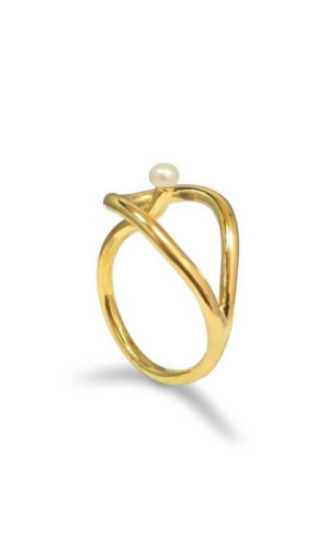 Twisted Gold Pearl Ring Made to order