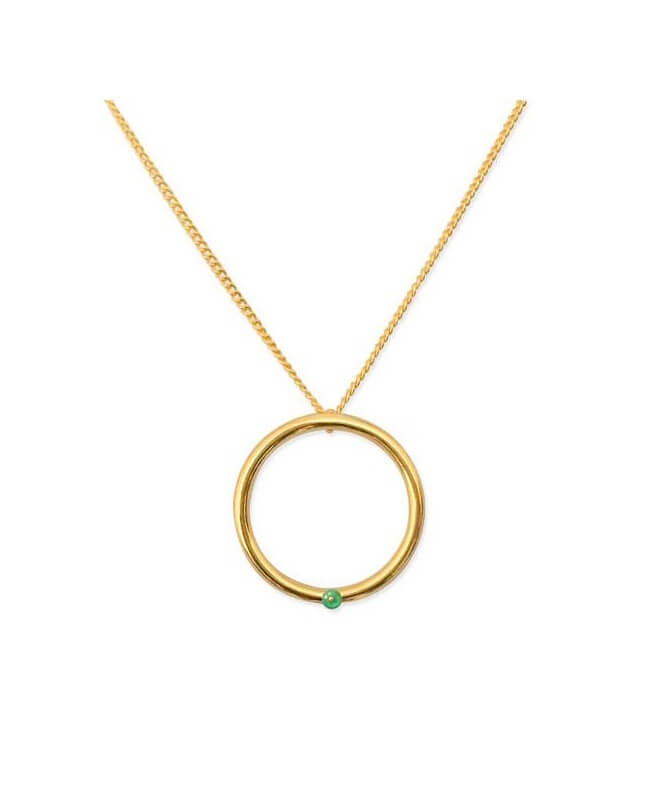 Gold Agate Hoop Necklace