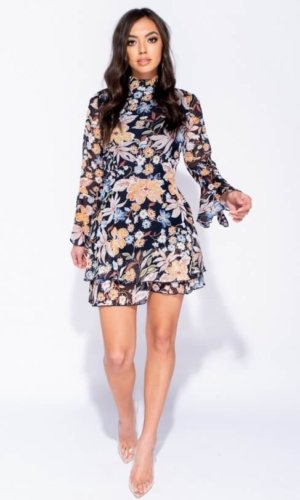 Floral Hem Sleeve Dress