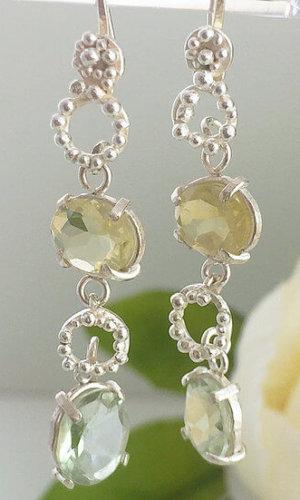Amethyst and Lemon Topaz Drop Earrings