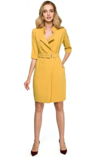 Yellow Blazer Midi Dress