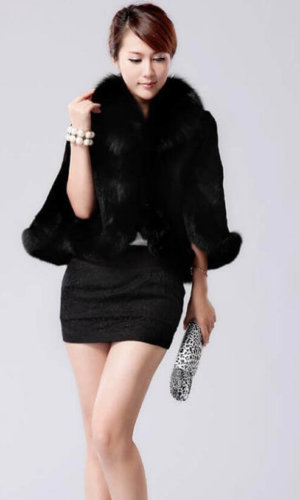 Black Faux Fur Cape Overcoat