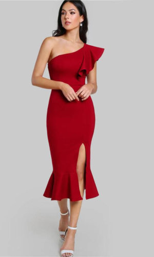 Burgundy One Shoulder Fishtail Flounce Midi Dress