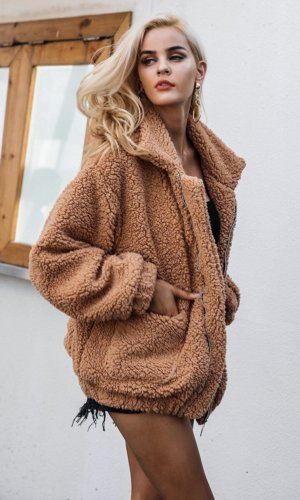 Faux fur lambswool oversized hairy jacket