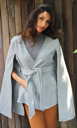 Long sleeve cape belt coat