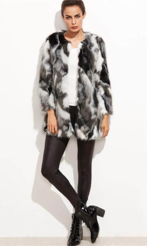 Faux fur fuzzy colour block open front coat