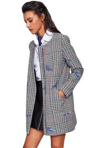 Bird embroidered plaid coat