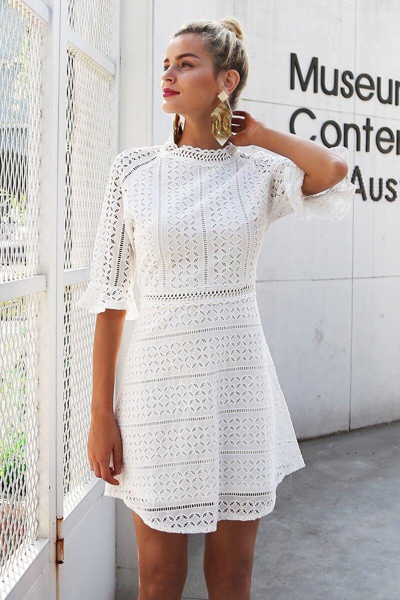 Vintage Hollow Out Elegant half Sleeve Midi Dress