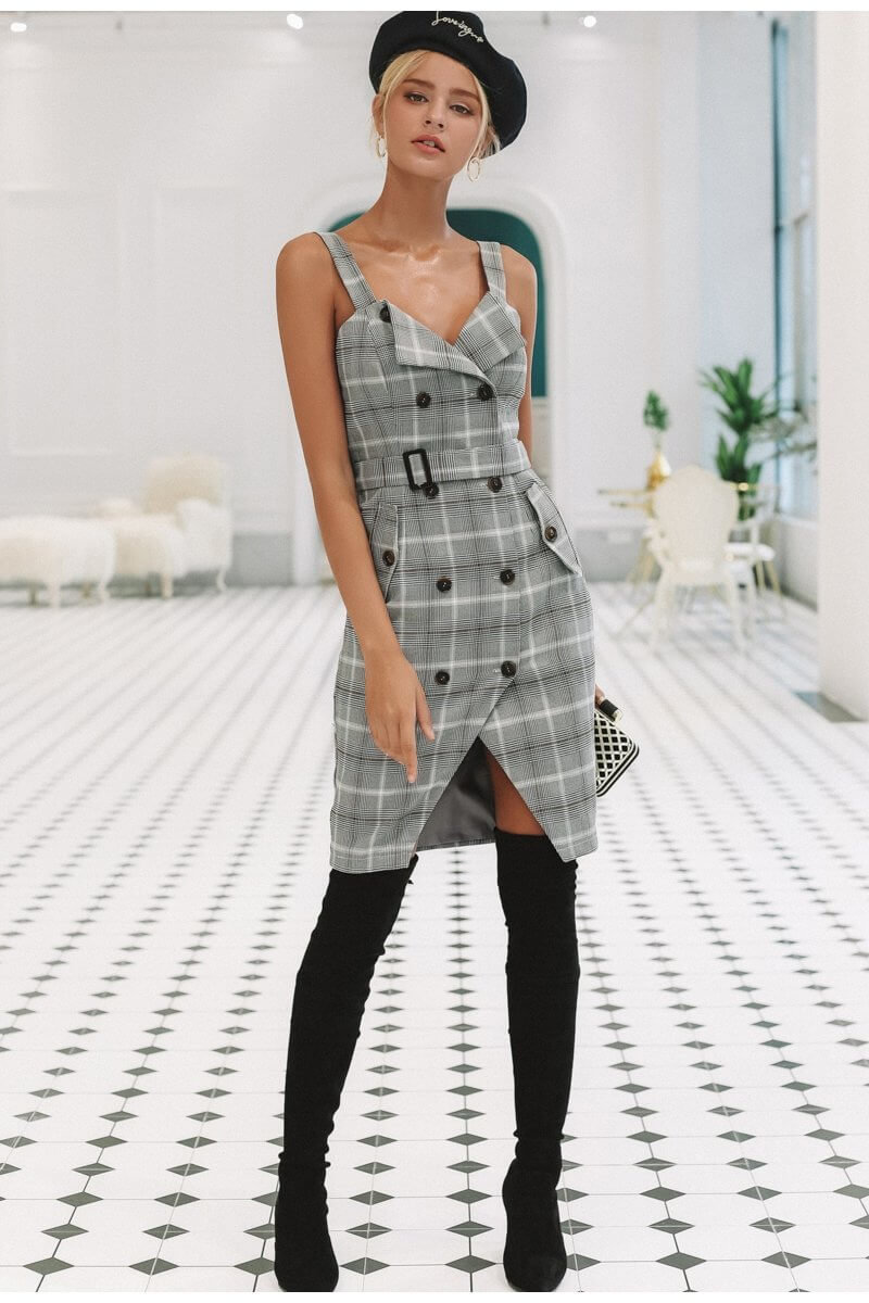 Plaid Strap Double Breasted Dress