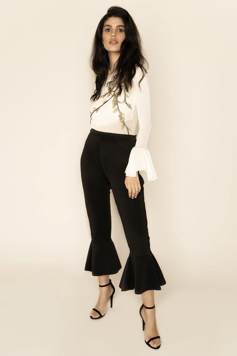 Black Flared High-Waisted Trousers