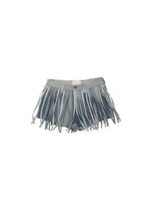 Blue Denim Fringe Shorts