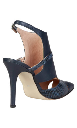 Black and Navy Python Insert Laetitia_Navy High Heel Pumps