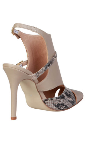 Black and Taupe Python Insert Laetitia_Taupe High Heel Pumps