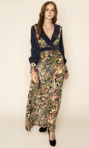 Karolina Velvet Chocker Wrap Maxi Dress