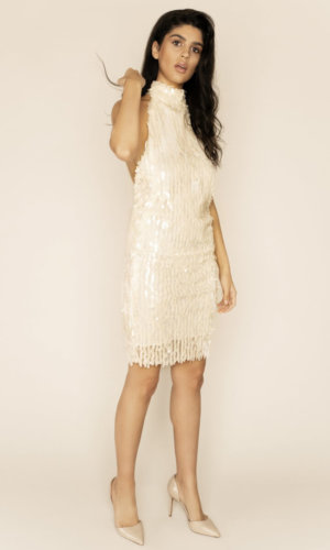 Lucile High Neck Backless Sequin Mini Dress,