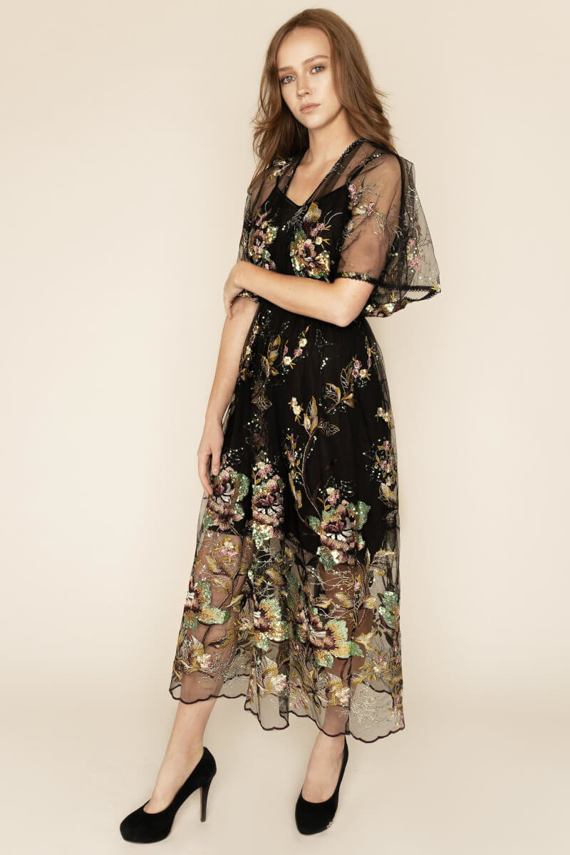 Natalie Floral Embellished Flutter Sleeve Midi Dress