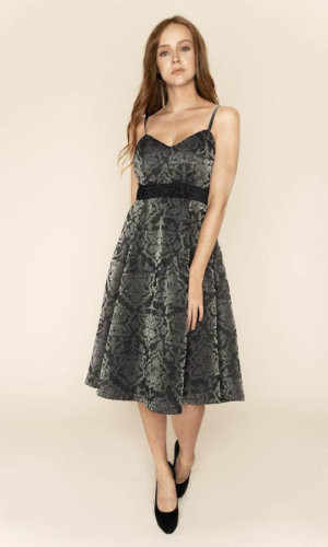 Nina Shimmery Jacquard Midi Dress