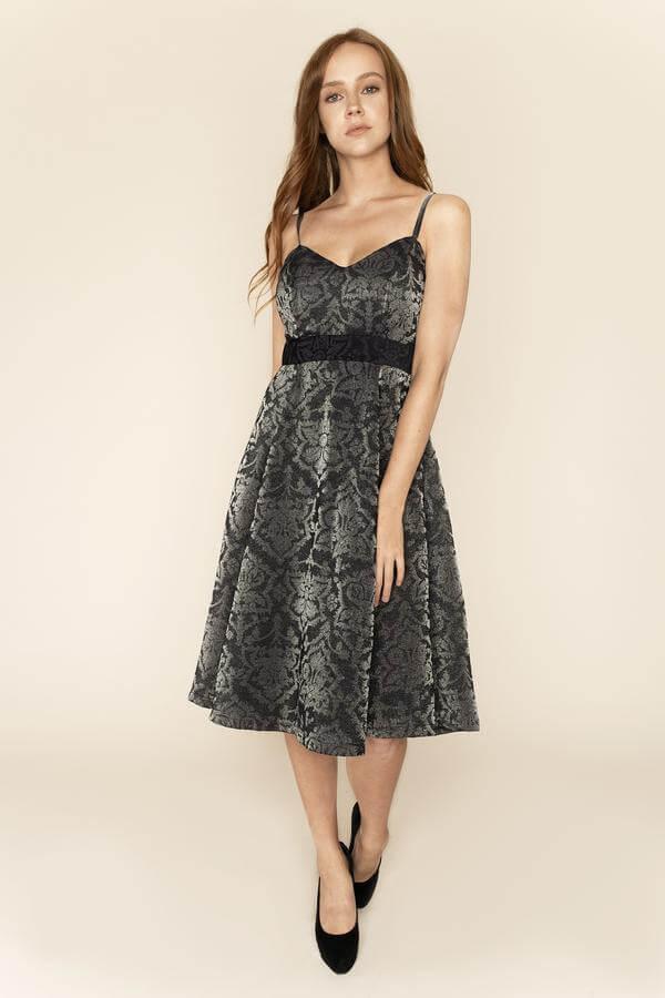 Nina Shimmery Jacquard Midi Dress