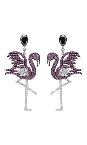 Flamingo Coloured Gemstone Earrings