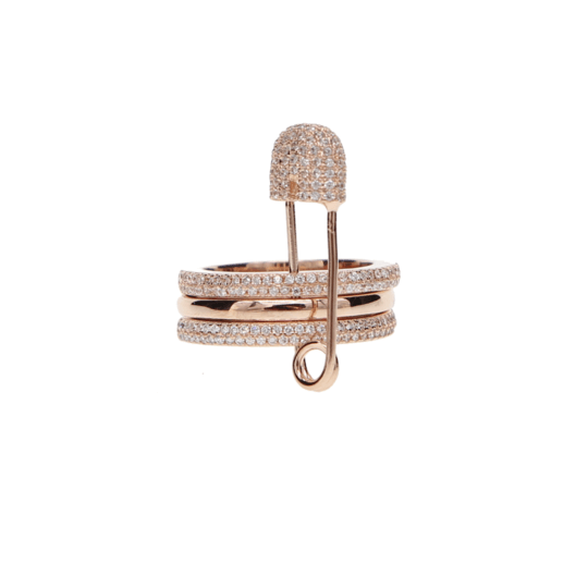 Opes Robur Rose Gold Safety Pin Ring