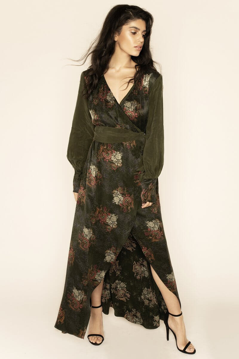 Verdant Jacquard Wrap Maxi Dress,