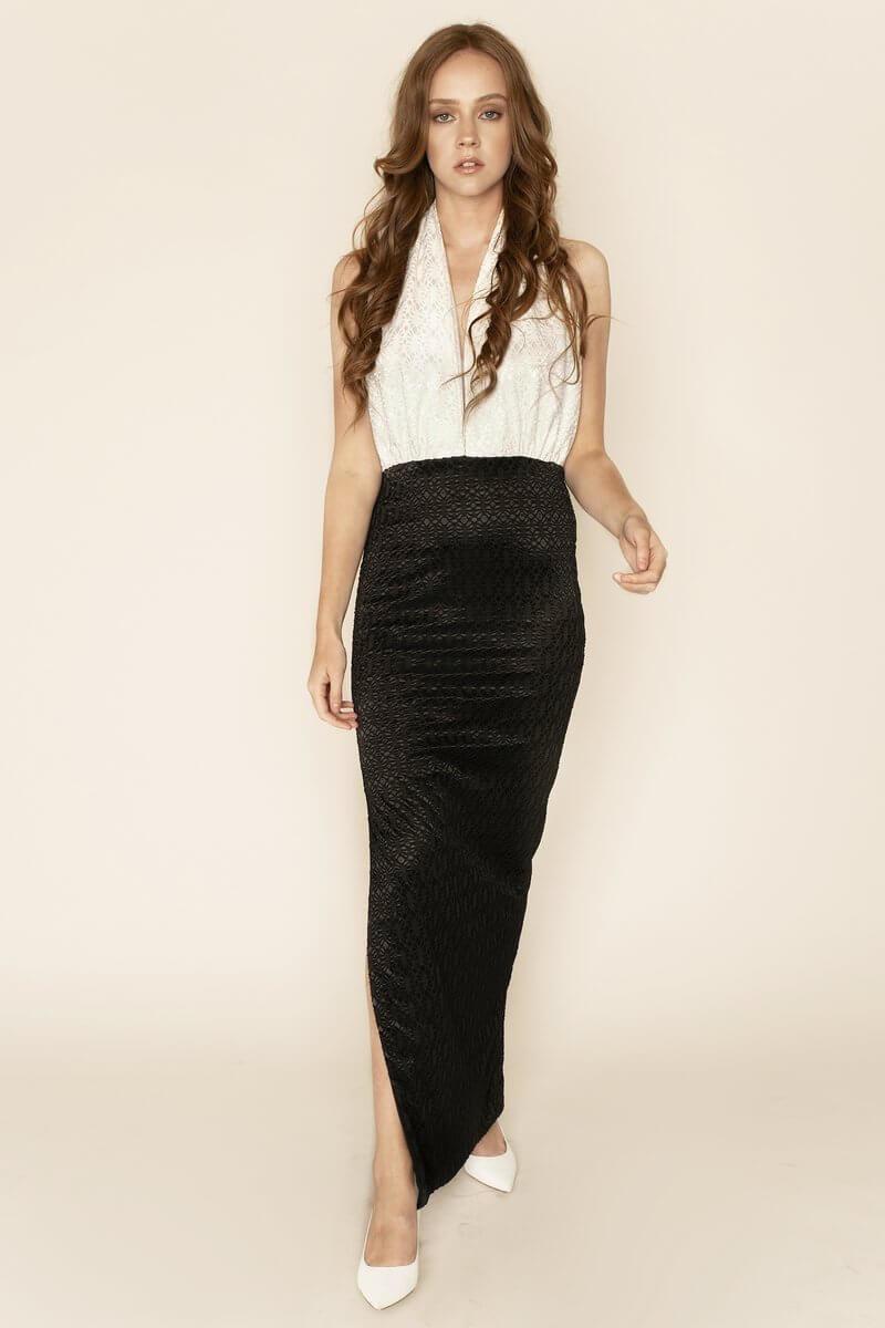 Dakota Backless Halterneck Lace Dress