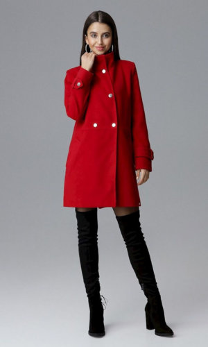 Red Oversized Midi Coat