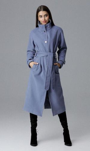 Figl Blue Wrap Belted Coat