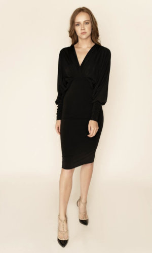 Lea Black Plunge Front Bat Wing Midi Dress