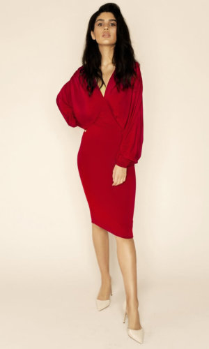 Lea Red Plunge Front Bat Wing Midi Dress