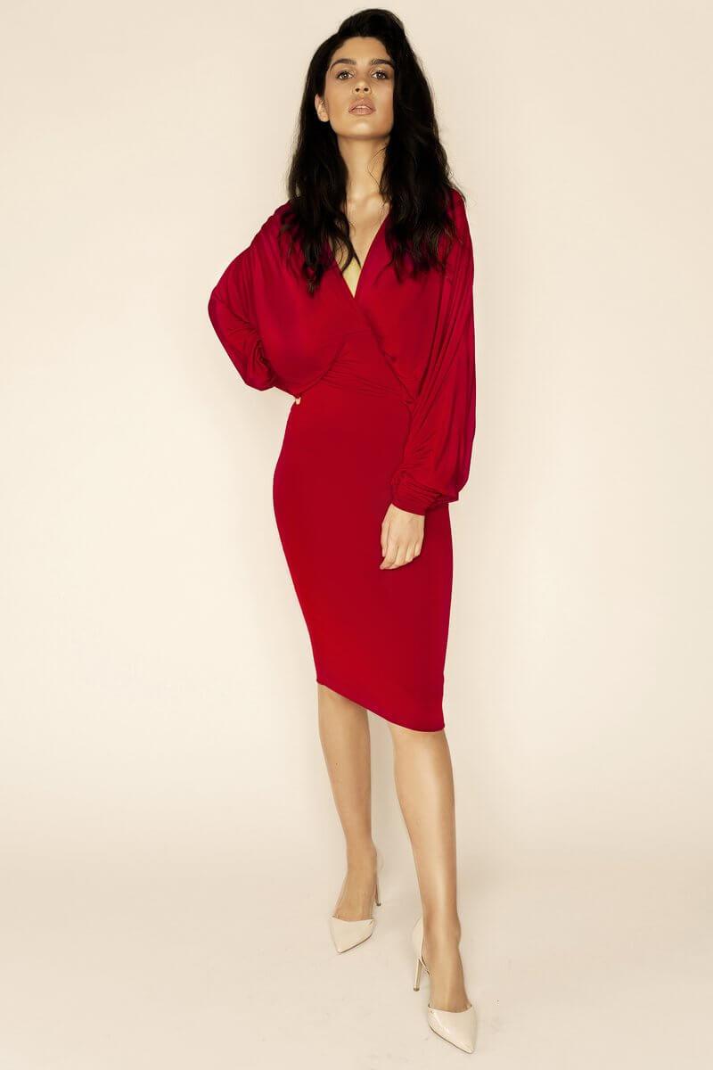 Lea Red Plunge Front Bat Wing Midi Dress