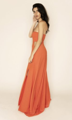 Margot bandeau maxi cut out dress with train