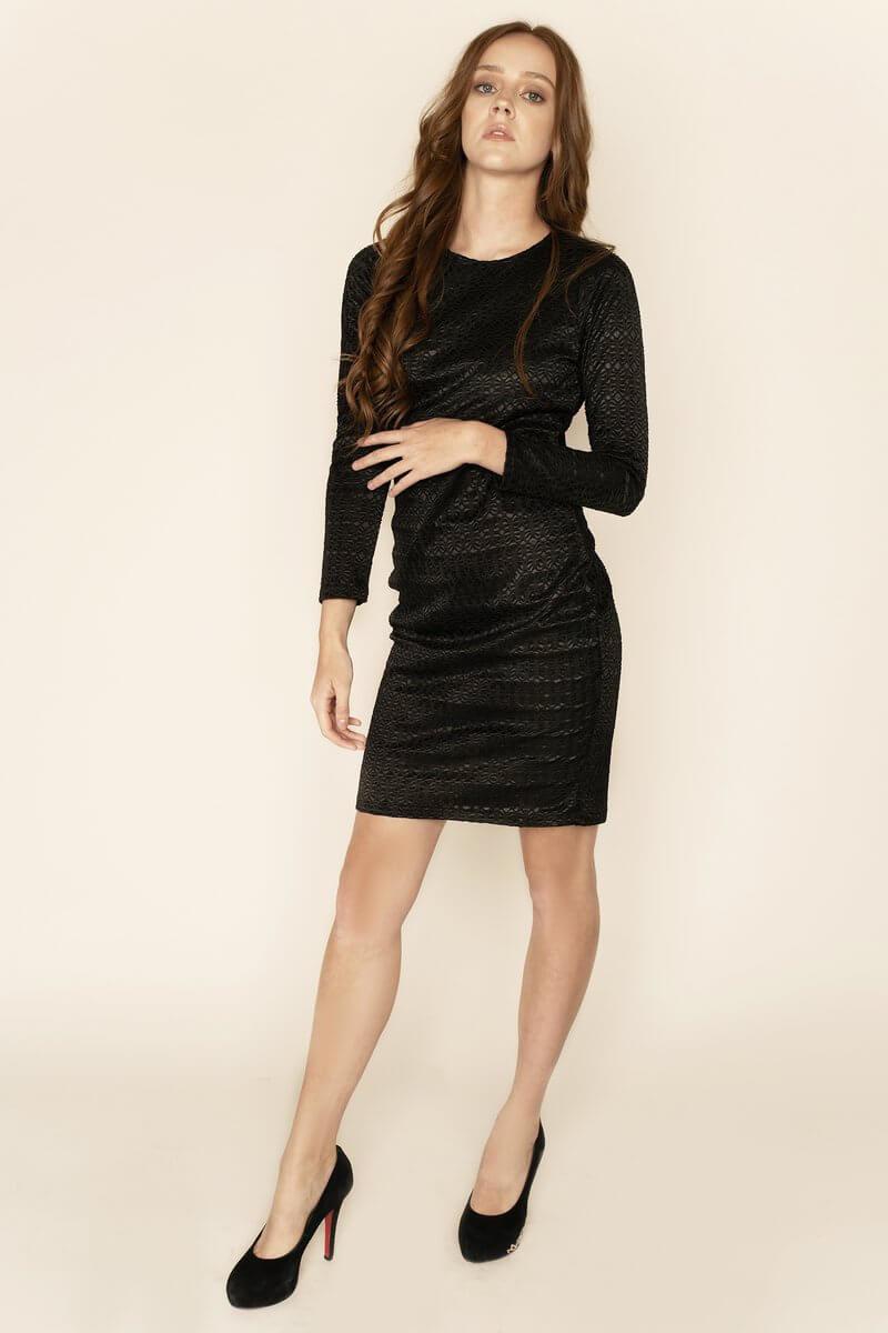 MORENA - LONG SLEEVE BACKLESS BLACK LACE DRESS