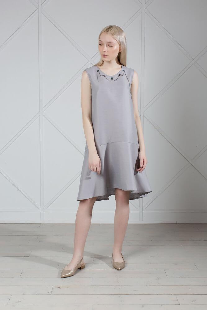 Gray Linen Dress