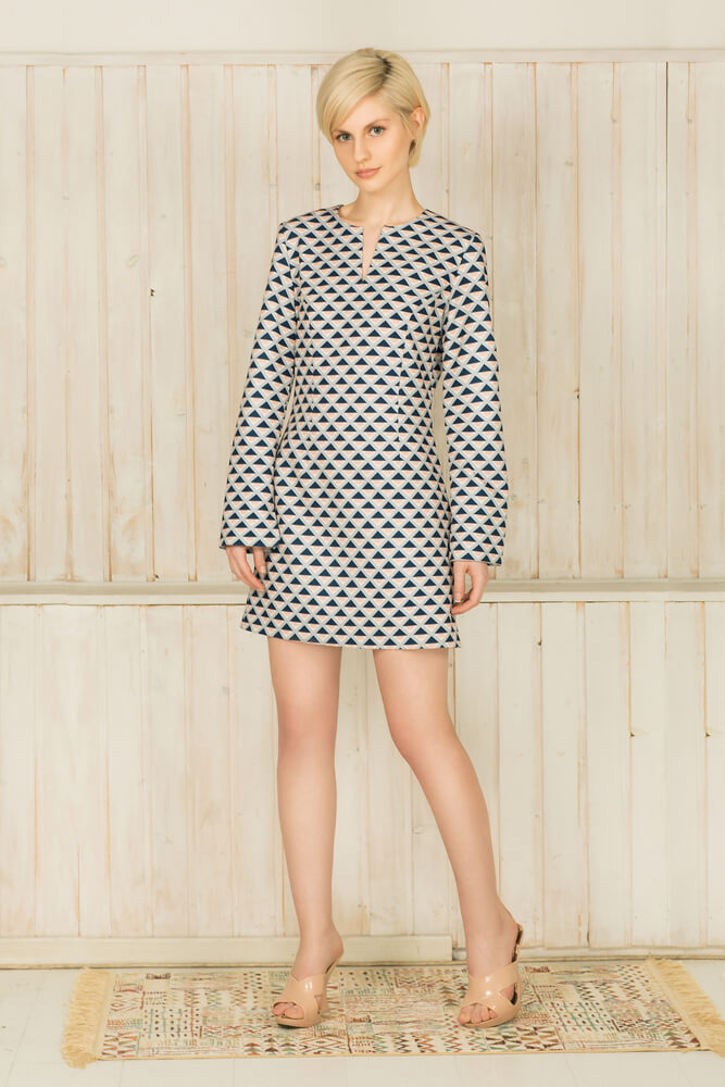 ThisA-line Mini Dress with Geometric Motif, Inspired by the Jane Birkin rock'n roll simplicity and optimism of a pop art in geometric prints.