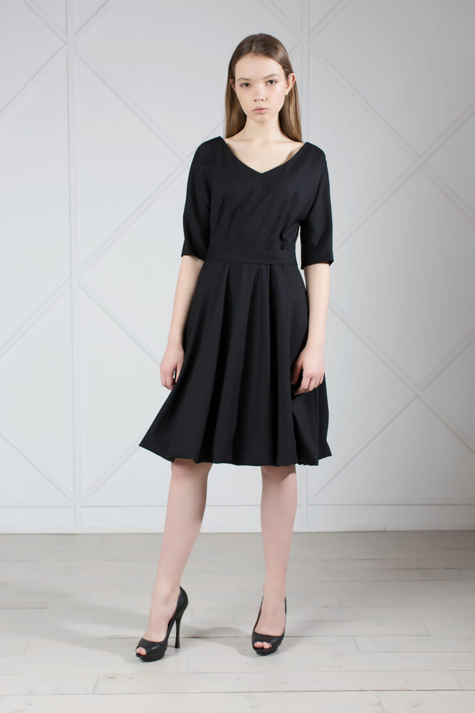 Elegant Black Wool Dress