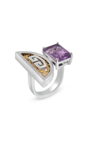 Timo ring is available in Silver 925 and yellow gold 18K featuring Amethyst 6.65ct