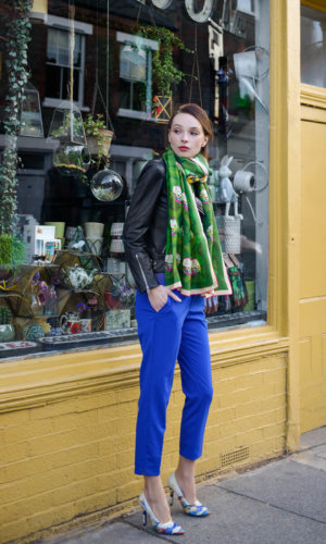 Green Gold Silk Scarf
