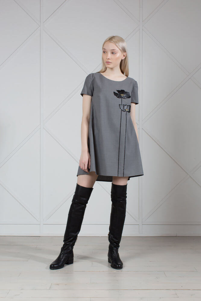 Gray Wool Mini Dress