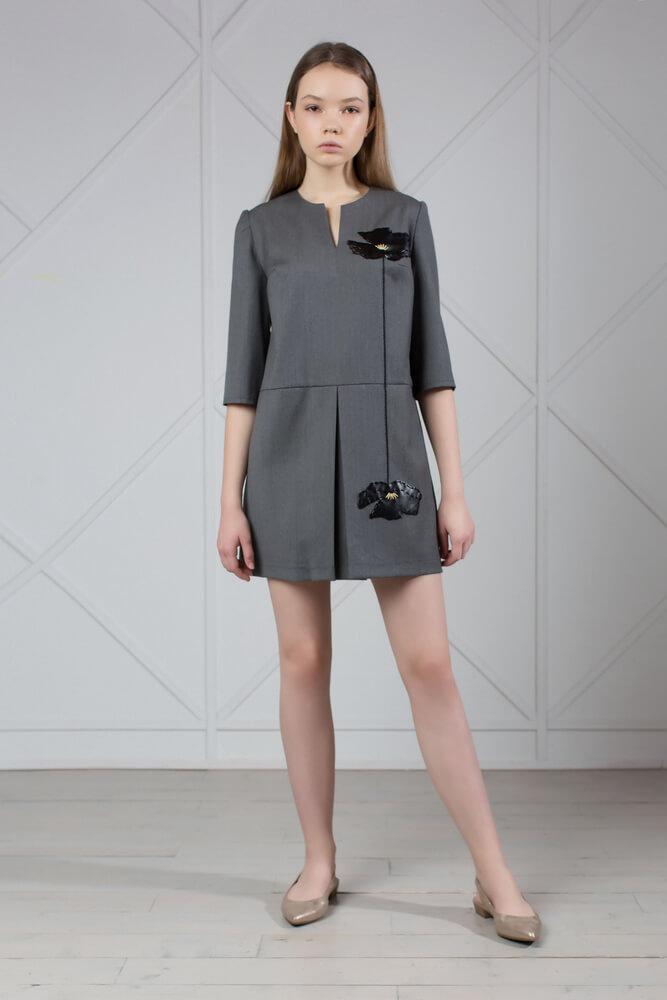 Gray Wool Mini Dress