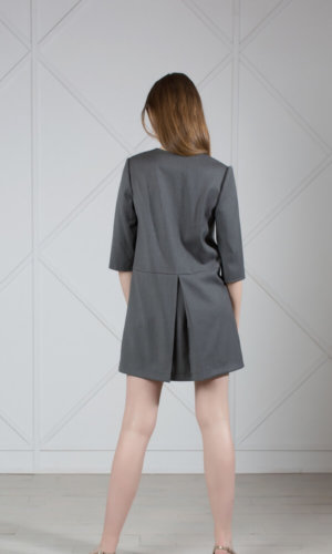 Gray Wool Mini Dress With Leather Appliqué.