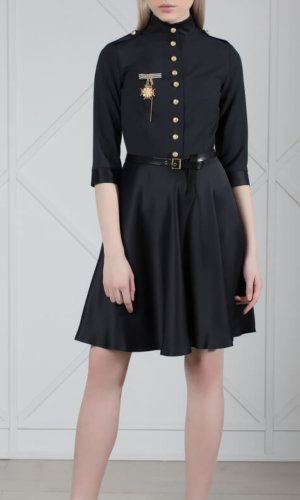 Military style wool dress.