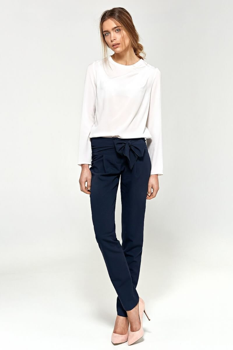 Navy Blue Bow front trousers