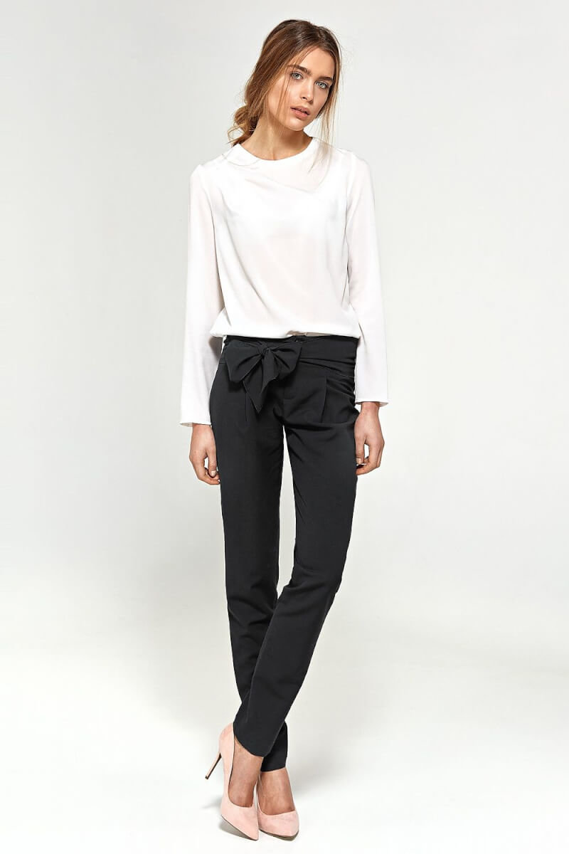 black bow front trousers